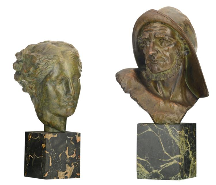Dommisse J., a fisherman's head, patinated terracotta on a marble base; added a woman's head after the antiques, bronze patinated terracotta on a marble base, H 41,5 - 52,5 cm
