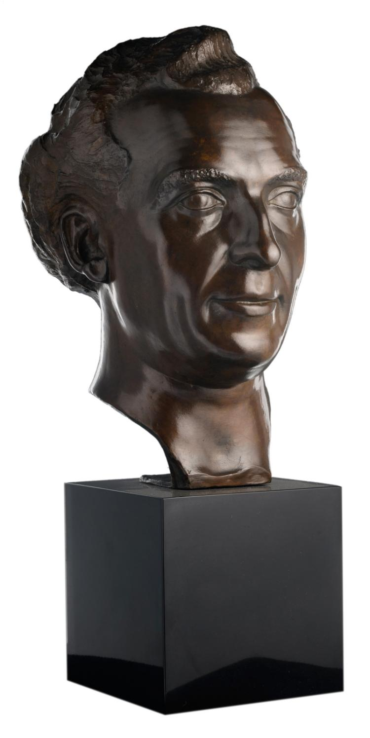 Anteunis J., a portrait of a man, patinated bronze, dated 1944, on a black Rance marble base, H 39,5 (without base) - 58 cm (with base)