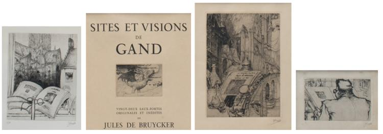 De Bruycker J., four etchings including two title pages of the work of G. Le Roy about Jules de Bruycker, 7 x 10 - 15,5 x 22 cm