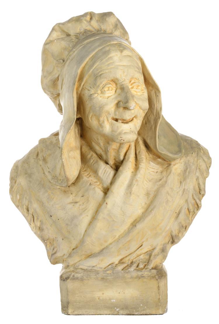 Baggen A., a portrait of a Zeelandic Flemish old woman, patinated plaster, H 66,5 cm