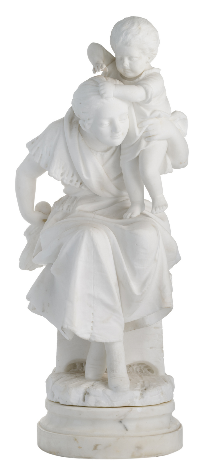 Carrier Belleuse E., motherly pleasures, modeled marble on a marble base, H 67 (without base) - 75 cm (with base)