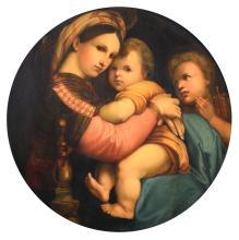 Raphael (after), Madonna delle seggiola, oil on panel, 73 x 74 cm