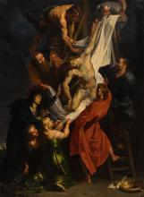 Unsigned, the descent from the cross after Rubens, oil on canvas, 19thC, 90 x 123 cm