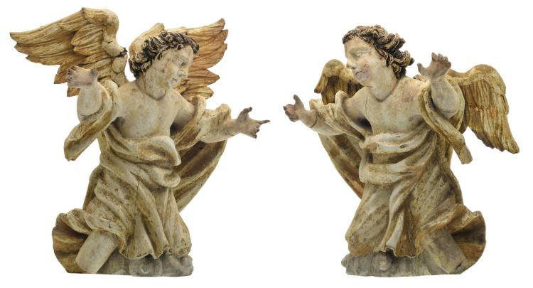 A pair of 18thC polychrome decorated wooden altar angels, H 48,5 - 52 cm