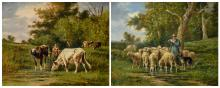 (Jansen W.G.T.), a pair of rural views depicting shepherds with their flock, oil on canvas, 65 x 81 cm