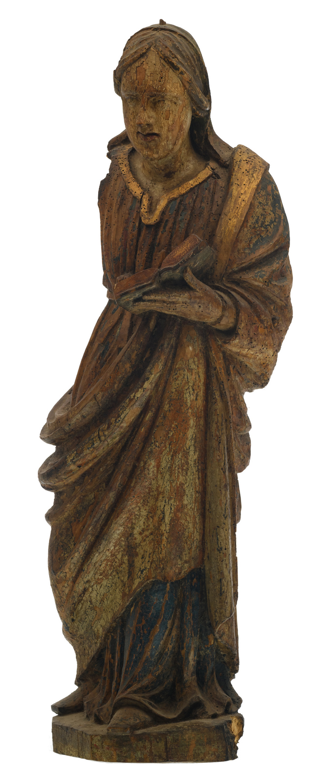 An 18thC probably Southern European polychrome decorated and gilt wooden sculpture depicting a saint, H 74,5 cm