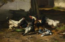 Maes E.R., a farmyard with poultry, oil on canvas, dated 1878, 58,5 x 88,5 cm