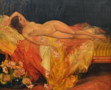 Van Belle K., a lying nude, oil on canvas, dated 1933, 100 x 120 cm