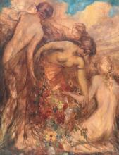 Van de Veegaete J., graceful nymphs in a landscape, oil on canvas, 71 x 91 cm
