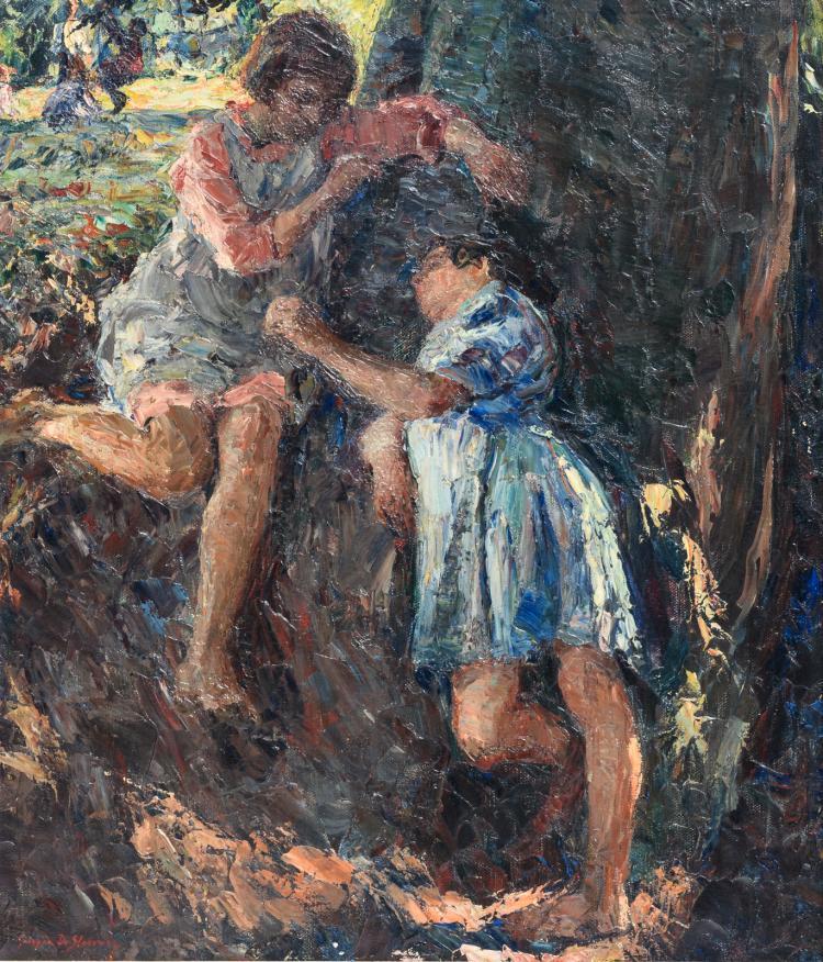 De Sloovere G., the girlfriends, oil on canvas, 60 x 70 cm