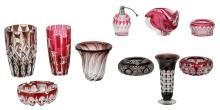 Ten 50s - 60s red overlay crystal cut decorative items and utensils, Val-Saint-Lambert, Saint-Louis, ..., H 6,5 - 23 cm