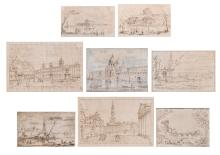 Eight framed pages from an 18th/19thC sketchbook of a trip to Italy, 14 x 23 - 22 x 32 cm