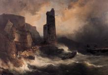 Jacobs J. (fecit XX), the shipwreck, oil on canvas, 19thC, 133 x 182 cm