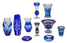 Ten blue overlay crystal cut decorative items and utensils,Val-Saint-Lambert, Bohemia,... H 7 - 33,5 cm
