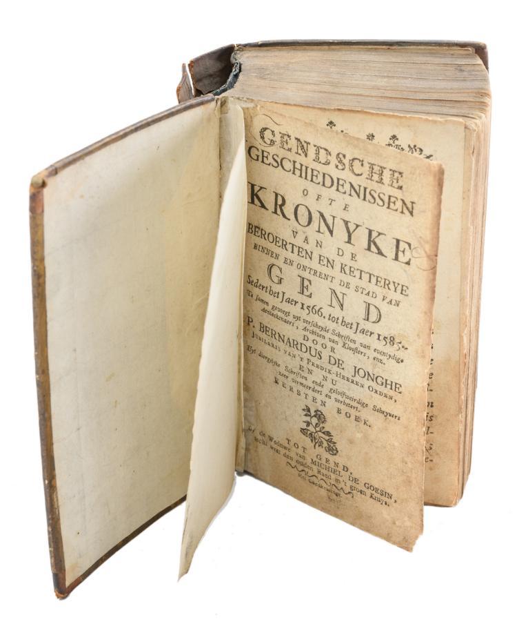 De Jonghe B., 'Gendsche geschiedenissen ofte kronyke van de beroerten en ketterye binnen, en ontrent de stadt van Gend sedert het jaer 1566 tot het jaer 1585', Ghent, printed by the widow of Michiel de Goesin, (1781), 1 vol.