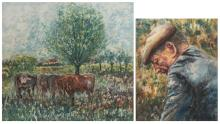 Van Rintel T., cows in a landscape, oil on canvas; added Van Rintel T., a head of a farmer, oil on canvas, 50 x 60 - 70 x 80,5 cm