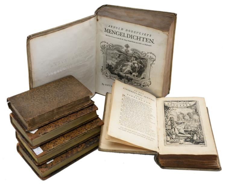 'Arnold Hoogvliets Mengeldichten', Delft, printed by Pieter vander Kloot, 1738; added Guénard E., 'Irma, ou les malheurs d'une jeune orpheline', Paris, 1816, 3 vol.; extra added Van den Abeele A., 'Den uyterlyken boogaard bestaande in hof- en land-gezichten', Haarlem, printed by Izaak Enschedé, 1730 and Croxall S., 'The fables of Aesop', Halifax, 1835