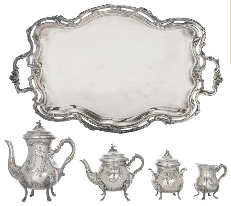 A five-part Wiskemann Rococo revival silver plated coffee and tea set, H 11 - 26 cm