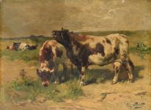 Schouten H.,cattle in a landscape, oil on panel, 24 x 32,5 cm