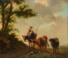 Monogrammed E.V. (Verboeckhoven?), a shepherdess with cattle, oil on panel, 26 x 31 cm