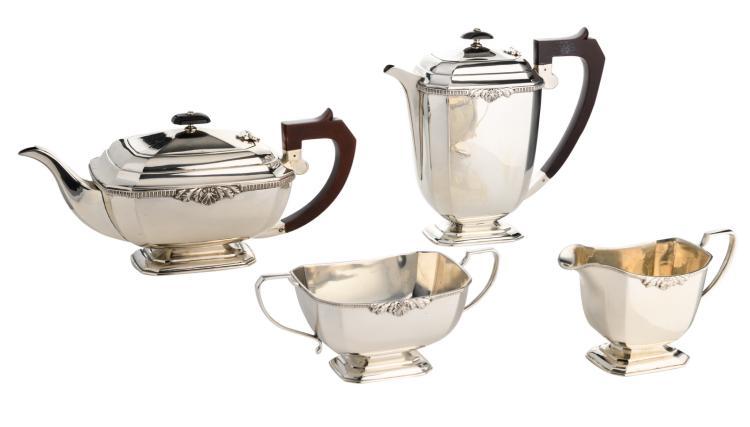 An English four-part silver coffee and tea set, 925/000, Birmingham hallmark, anniversary mark Elisabeth II, H 8 - 20 cm - Total weight: about 1880g