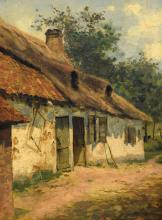 Unsigned, a view on a courtyard, oil on panel, late 19thC, 28 x 38 cm