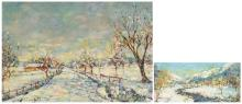 Verbrugghe C., 'Paysage D'Hyver' and a winter landscape, oil on board, 15 x 31 and 37,5 x 54,5 cm