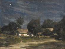 Maris W., a clear night with a starry sky, oil on canvas, 26 x 34,5 cm