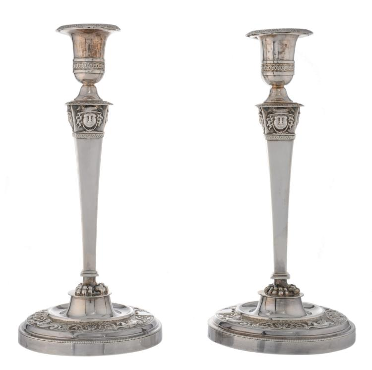 A pair of second half of the 19thC French export silver candlesticks, 925/000, H 28,5 cm - Weight: about 800g