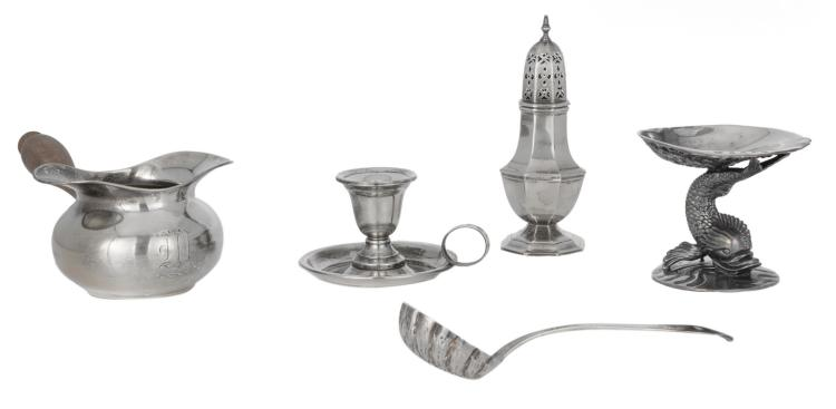 An American sterling silver brandy ladle; added an English silver caster, London hallmark; extra added a little Irish sterling silver plate, Dublin hallmark (jubilee year 1973); a silver candleholder; a second half of the 19thC French silver sugar sifter ladle, H 4 - 16 cm - Total weight: about 790g