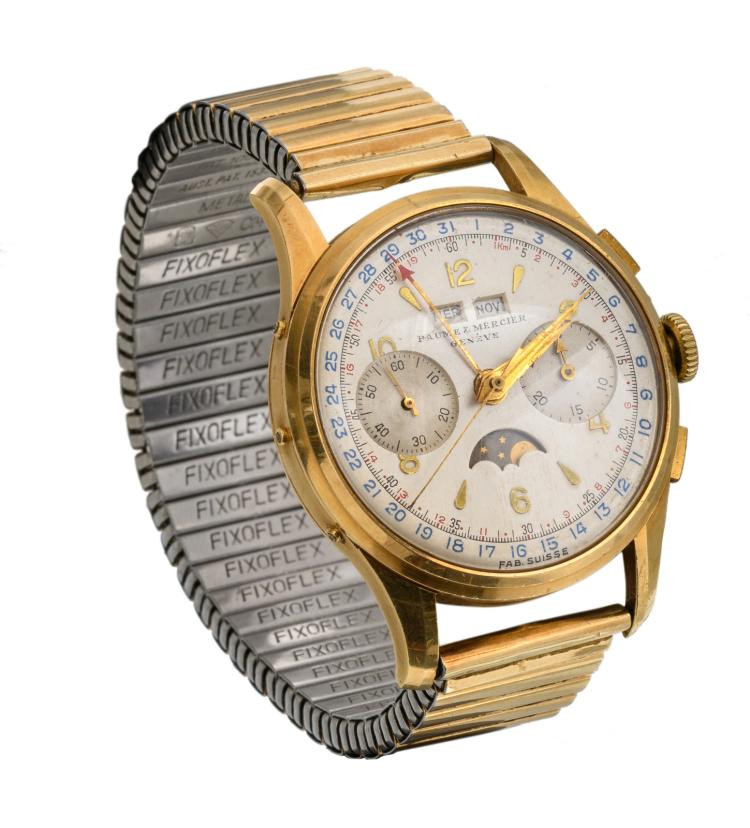 An 18ct gold mount 50s calendar chronograph watch Baume & Mercier