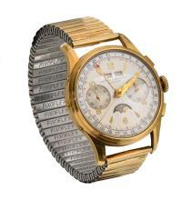 An 18ct gold mount 50s calendar chronograph watch Baume & Mercier