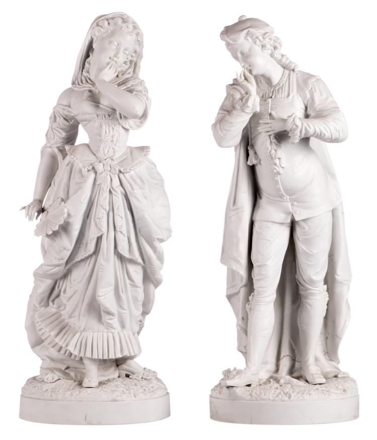 An elegant presumably French biscuit couple, third quarter of the 19thC, H 70,5 cm