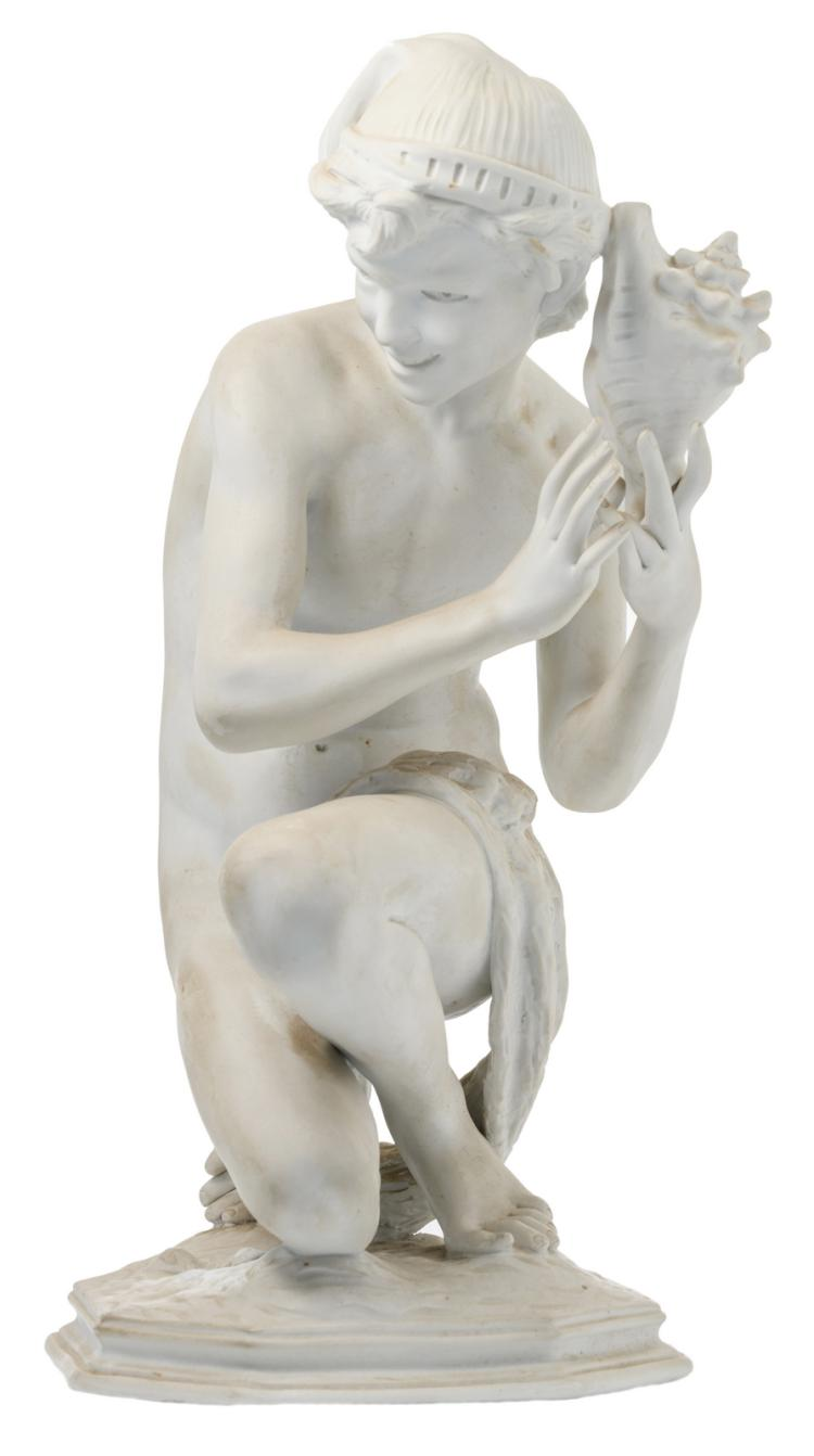 Carpeaux J.B. (after), 'Pêcheur napolitain à  la coquille' (the Neapolitan fisherboy), biscuit, marked, H 41 cm