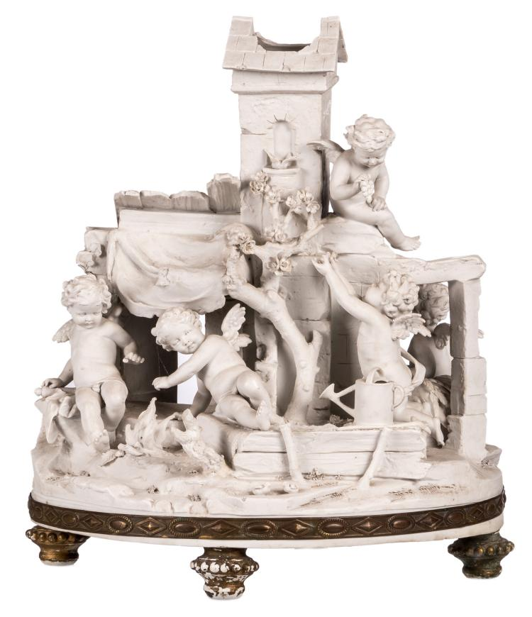 A rare biscuit statue depicting Amor figures playing in a yard near a gazebo, the base with a Neoclassical brass freeze, a serial number at the bottom, probably German, late 19th - early 20thC, H 45 cm