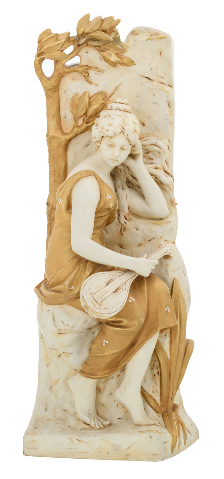 A polychrome decorated biscuit vase depicting a female musician, about 1900, marked Royal Dux, H 58,5 cm
