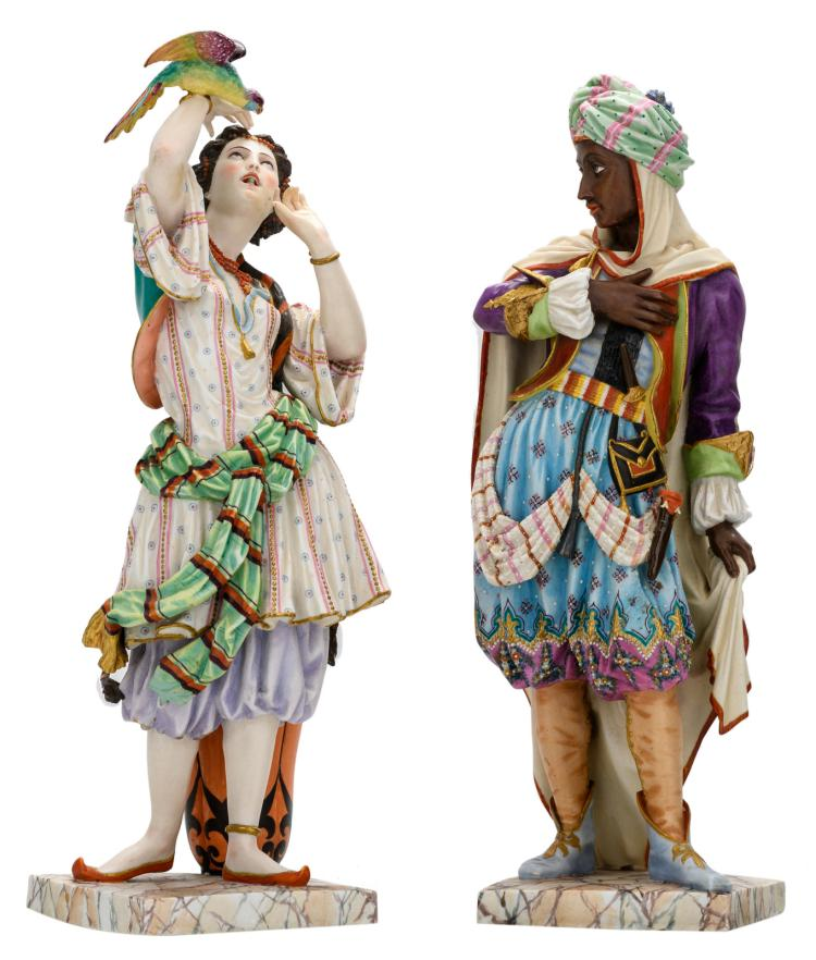 A polychrome decorated biscuit Moorish couple, marked J.G. (Jean Gille - Paris - active 1840-1868), second half of the 19thC, H 47 - 49 cm