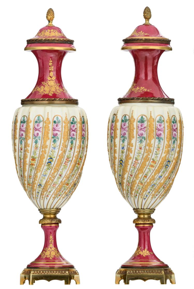 A pair of bronze mounted decorative vases in the Sèvres manner, H 54 cm