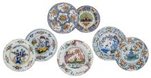 Seven 18thC tin glazed polychrome Dutch Delftware plates, some marked, ø 19,5 - 24 cm