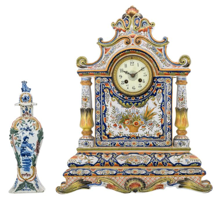 A polychrome decorated Rouen Baroque revival pendulum, marked; added a polychrome decorated earthenware vase and cover, part of a garniture, H 31 - 50,5 cm