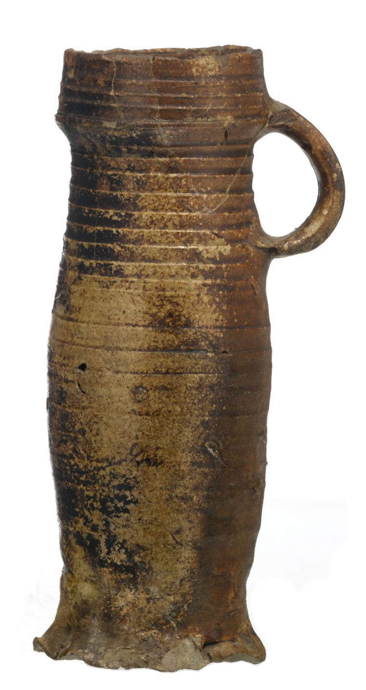 A Flemish 15thC stoneware funnel neck beaker, H 20 cm