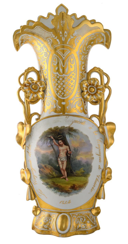 A 19thC old Paris porcelain shooters trophy 'La Compagnie d'Arc d'Elincourt Ste Marguerite à la Compagnie de Clairoix - 1854', H 72 cm