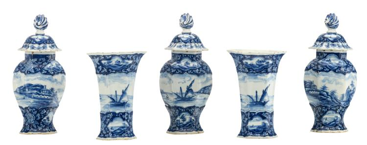 A 19thC Dutch Delftware blue and white five-piece garniture decorated with harbor views, marked AP, H 23 - 33 cm