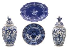 Two 18thC chinoiserie decorated vases and covers; added an 18thC blue and white decorated Dutch Delftware plate, marked 'De Clauw'; extra added an 18thC St.-Omer Rococo style plate, H 37 - 26 x 35,5 - ø 26,5 cm