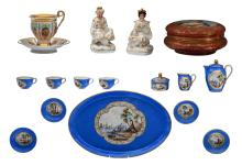A bonbonnière in the Sèvres manner, a third quarter of the 19thCpolychrome decorated cup and saucer, two vieux Paris perfume bottles and a Meissener service for children, H 1,5 - 10,5 cm