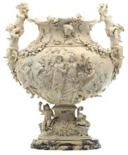 A decorative vase depicting a Bacchus procession, marked Napels - Capodimonte, on a marble base, probably 18thC, H 58,5 cm