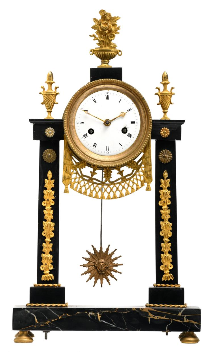 A French mid 19thC gilt bronze Neoclassical Rance and Portor marble portico clock, H 44 cm - W 25,5 cm
