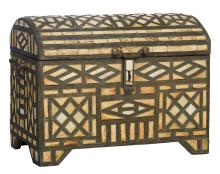 A brass, bone and wood North African wedding suitcase,H 47 - W 63 - D 39 cm