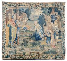 A fine 17thC Flemish wool and silk tapestry depicting a sacred history, marked 'Brabant - Brussels',319 x 368 cm