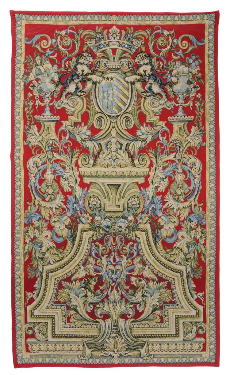A decorative armorial wool tapestry with the Louvois coat of arms, 180 x 270 cm